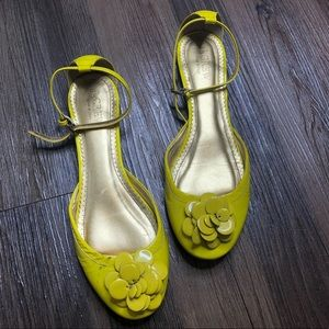 J. Crew Yellow Patent Leather Ankle Strap Flats
